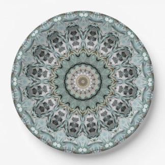Assiettes En Papier Turquoise légère et kaléidoscope gris d'art de