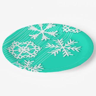 Assiettes En Papier Turquoise moderne et flocons de neige de Noël