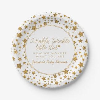 Assiettes En Papier Twink, scintillement peu de baby shower d'étoile