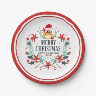 Assiettes En Papier Typographie de Joyeux Noël et guirlande de hibou