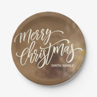 Assiettes En Papier Typographie de Joyeux Noël sur la texture crémeuse