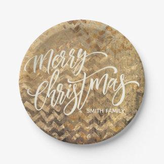 Assiettes En Papier Typographie de Joyeux Noël sur la texture de