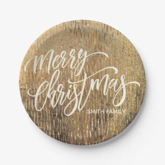 Assiettes En Papier Typographie de Joyeux Noël sur la texture de pluie
