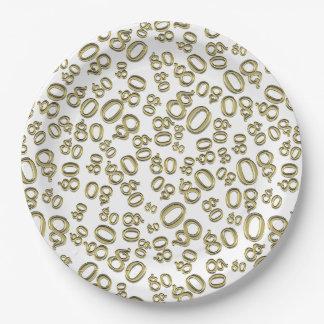 Assiettes En Papier Typographie d'or toutes quatre-vingtième
