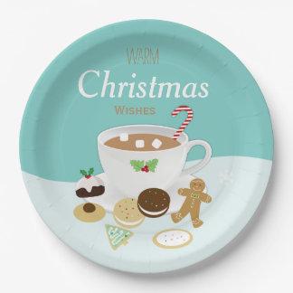 Assiettes En Papier Vacances de biscuits de Noël et de chocolat chaud