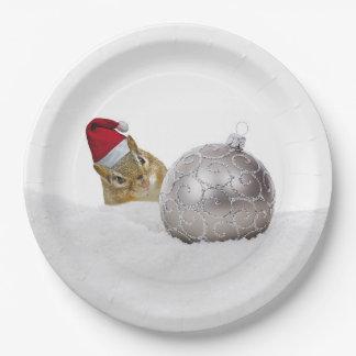 Assiettes En Papier Vacances mignonnes d'argent de tamia et de Noël de