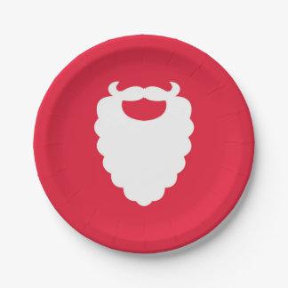 Assiettes En Papier Vacances modernes de barbe rouge et blanche de