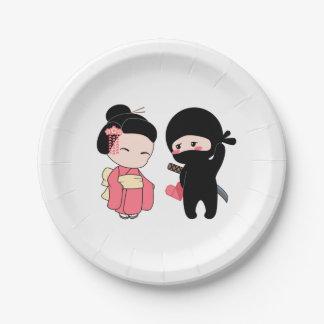 Assiettes En Papier Valentine Ninja et geisha