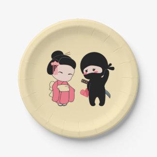 Assiettes En Papier Valentine Ninja et geisha sur le jaune