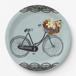 Assiettes En Papier Vélo en ivoire de bicyclette de vert de menthe de
