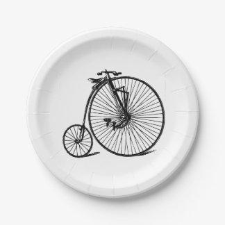 Assiettes En Papier Vélo vintage de bicyclette de vélo sur rail