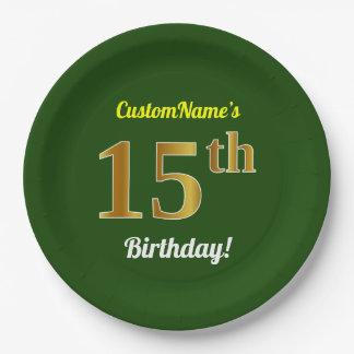 Assiettes En Papier Vert, anniversaire d'or de Faux 15ème + Nom fait