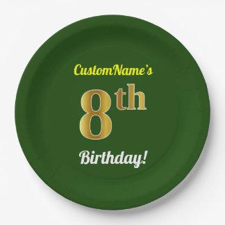 Assiettes En Papier Vert, anniversaire d'or de Faux 8ème + Nom fait