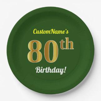 Assiettes En Papier Vert, anniversaire d'or de Faux quatre-vingtième +
