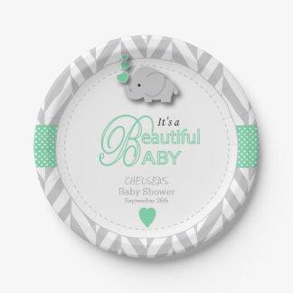 Assiettes En Papier Vert, baby shower gris blanc d'éléphant