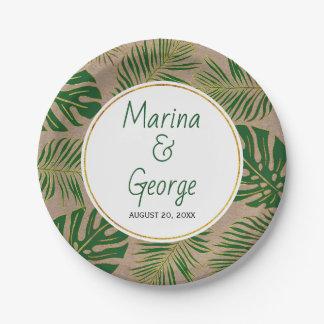 Assiettes En Papier Vert moderne de feuille tropical, mariage rustique