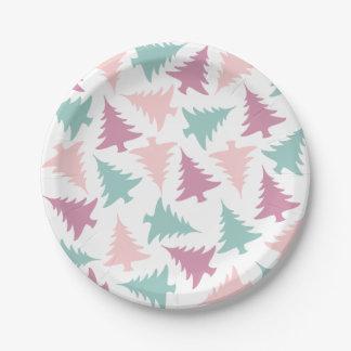 Assiettes En Papier Vert pourpre de rose en pastel de motif d'arbre de