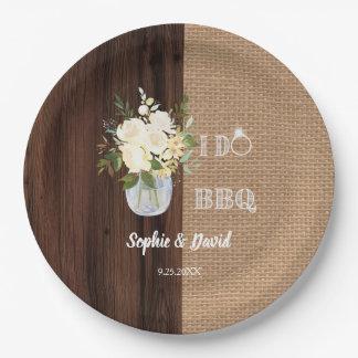 Assiettes En Papier Vieille grange de toile de jute florale rustique