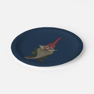 Assiettes En Papier Vieux gnome de Noël plaque à papier de 7 pouces