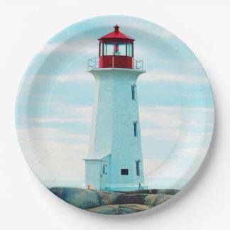 Assiettes En Papier Vieux phare, océan bleu, maritime, nautique