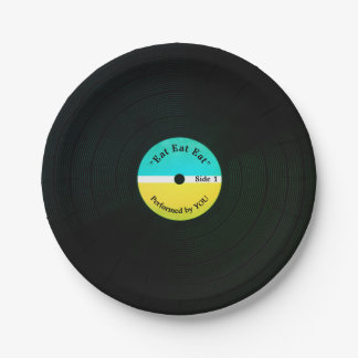 Assiettes En Papier Vinyle musical drôle de regard mangeant la