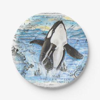 Assiettes En Papier Violation de la carte antique d'orque