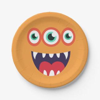 Assiettes En Papier Visage orange de monstre