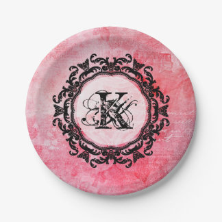 Assiettes En Papier Votre lettre, vieux, vintage, romantique, rose,