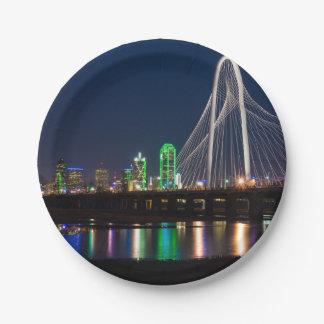 Assiettes En Papier Vue de pont de Dallas