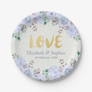 Assiettes En Papier Wedding shower floral de manuscrit d'or