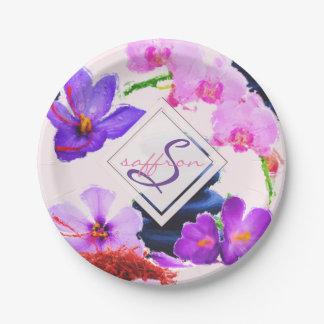 Assiettes En Papier Zen de fleurs de safran et d'orchidée de