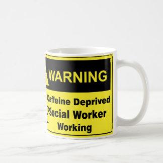 Assistant social d'avertissement de caféine mug