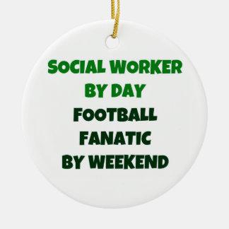 Assistant social par le fanatique du football de ornement rond en céramique
