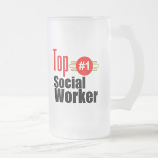 Assistant social supérieur frosted glass beer mug