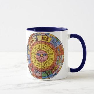 Astrologie antique vintage, roue céleste de mug