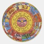 Astrologie céleste vintage, roue antique de adhésifs ronds