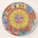Astrologie céleste vintage, roue antique de dessous de verre