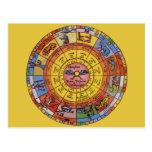 Astrologie céleste vintage, roue antique de zodiaq carte postale