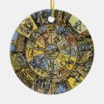 Astrologie céleste vintage, roue de zodiaque, 1555 décorations de noël