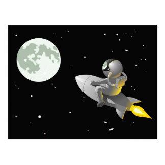 Astronaute à la lune carte postale