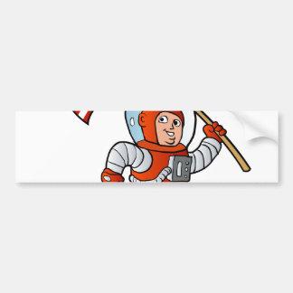 Astronaute avec le drapeau américain autocollant de voiture
