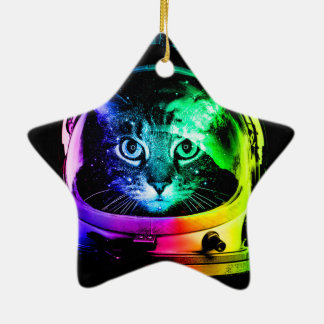 Astronaute de chat - chat de l'espace - chats ornement étoile en céramique