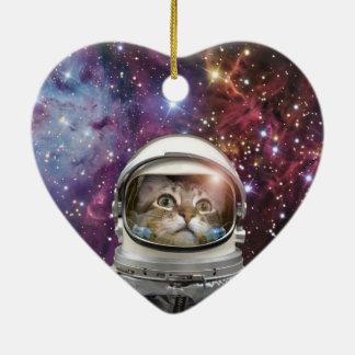 Astronaute de chat - chat fou - chat ornement cœur en céramique