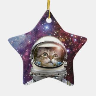 Astronaute de chat - chat fou - chat ornement étoile en céramique