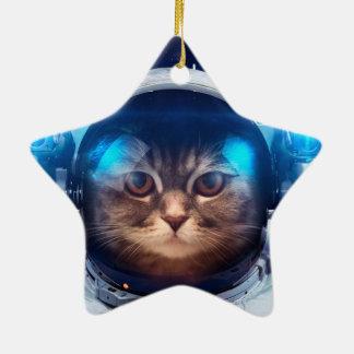 Astronaute de chat - chats dans l'espace - ornement étoile en céramique