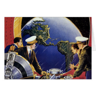 Astronautes vintages de la science-fiction carte de vœux