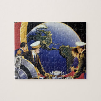 Astronautes vintages de la science-fiction puzzle