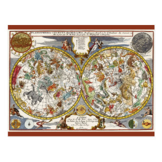 Astronomie vintage, carte céleste de Planisphere