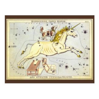 Astronomie vintage, constellation de licorne de carte postale