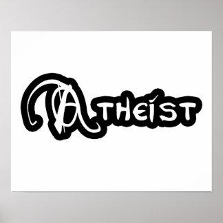 Athée en noir et blanc poster